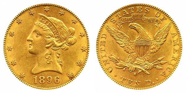 1896 S Liberty Head $10 Gold Eagle - Ten Dollars