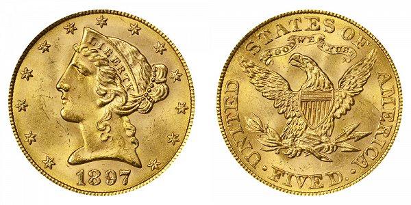 1897 Liberty Head $5 Gold Half Eagle - Five Dollars