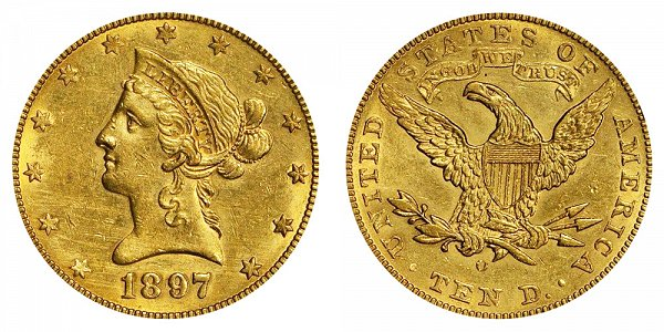 1897 O Liberty Head $10 Gold Eagle - Ten Dollars
