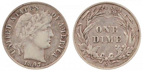 1897 S Silver Barber Dime