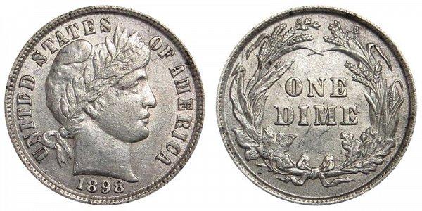 1898 Silver Barber Dime