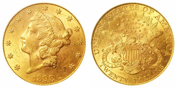 1898 Liberty Head $20 Gold Double Eagle - Twenty Dollars