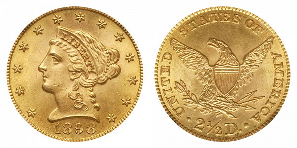 1898 Liberty Head $2.50 Gold Quarter Eagle - 2 1/2 Dollars