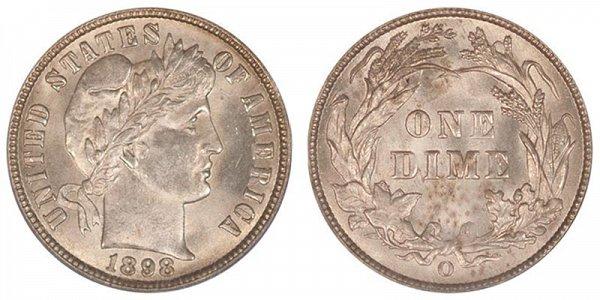 1898 O Silver Barber Dime