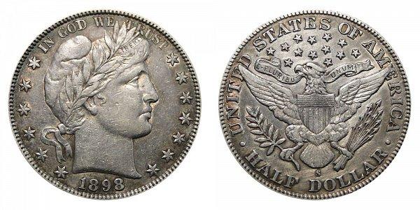 1898 S Barber Silver Half Dollar