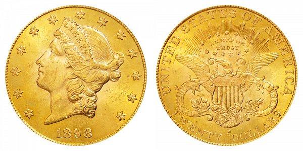 1898 S Liberty Head $20 Gold Double Eagle - Twenty Dollars