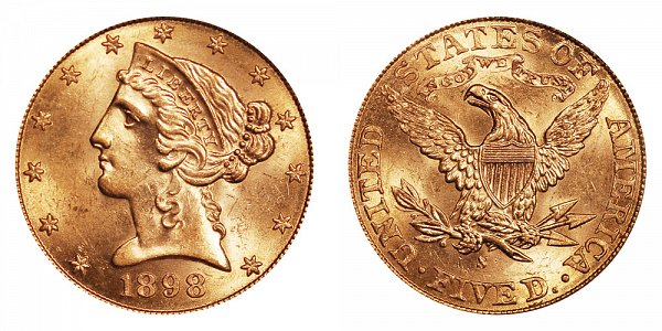 1898 S Liberty Head $5 Gold Half Eagle - Five Dollars