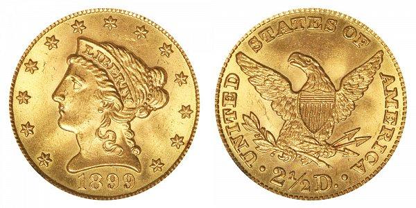 1899 Liberty Head $2.50 Gold Quarter Eagle - 2 1/2 Dollars