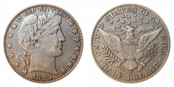 1899 S Barber Silver Half Dollar