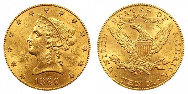 1899 S Liberty Head $10 Gold Eagle - Ten Dollars
