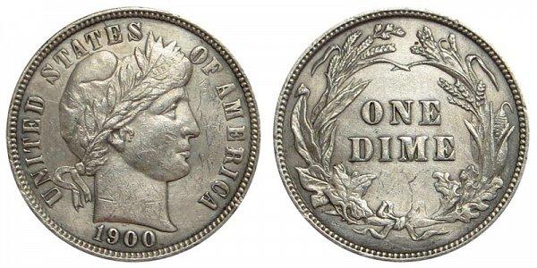 1900 Silver Barber Dime