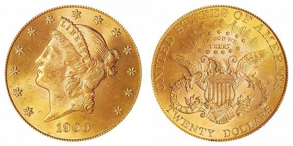 1900 Liberty Head $20 Gold Double Eagle - Twenty Dollars