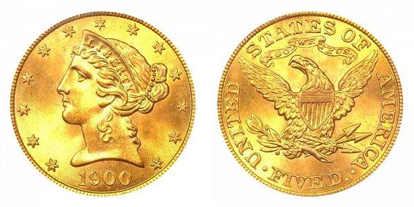 1900 Liberty Head $5 Gold Half Eagle - Five Dollars