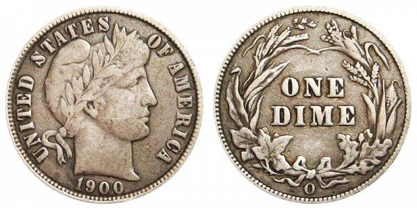 1900 O Silver Barber Dime