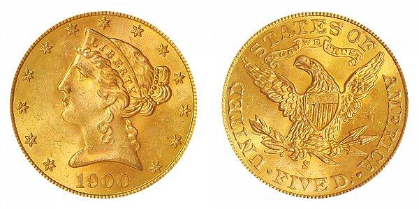 1900 S Liberty Head $5 Gold Half Eagle - Five Dollars