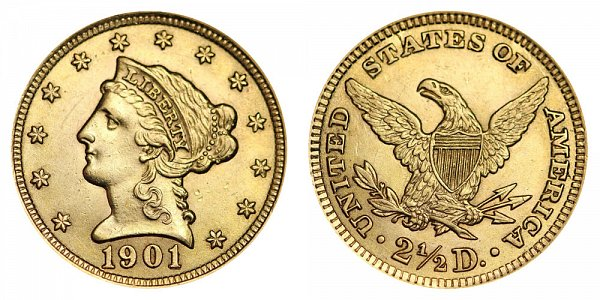 1901 Liberty Head $2.50 Gold Quarter Eagle - 2 1/2 Dollars