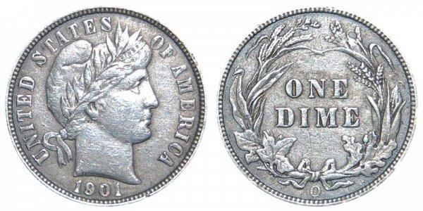 1901 O Silver Barber Dime