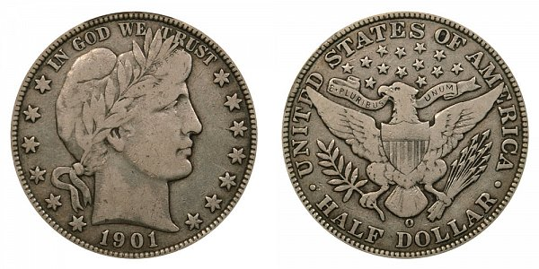 1901 O Barber Silver Half Dollar