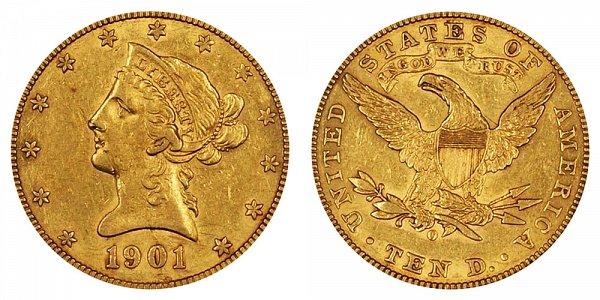 1901 O Liberty Head $10 Gold Eagle - Ten Dollars
