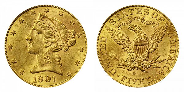 1901/0 S Liberty Head $5 Gold Half Eagle - 1 Over 0 Overdate - Five Dollars