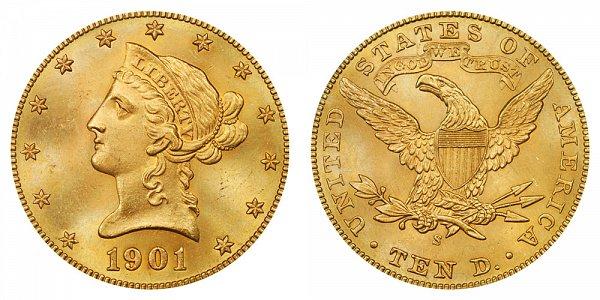 1901 S Liberty Head $10 Gold Eagle - Ten Dollars