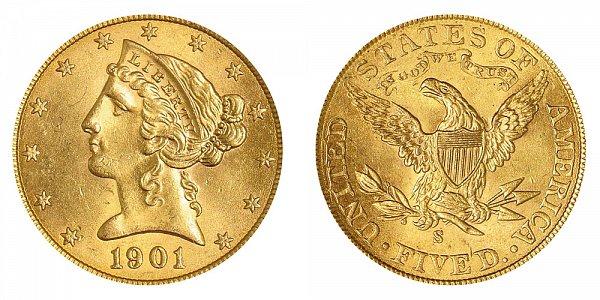 1901 S Liberty Head $5 Gold Half Eagle - Five Dollars