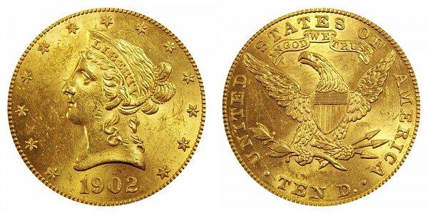 1902 Liberty Head $10 Gold Eagle - Ten Dollars