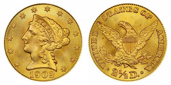 1902 Liberty Head $2.50 Gold Quarter Eagle - 2 1/2 Dollars