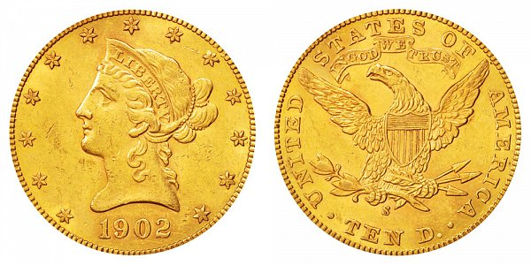1902 S Liberty Head $10 Gold Eagle - Ten Dollars