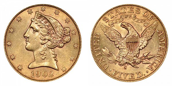 1902 S Liberty Head $5 Gold Half Eagle - Five Dollars