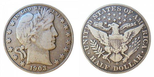 1903 O Barber Silver Half Dollar