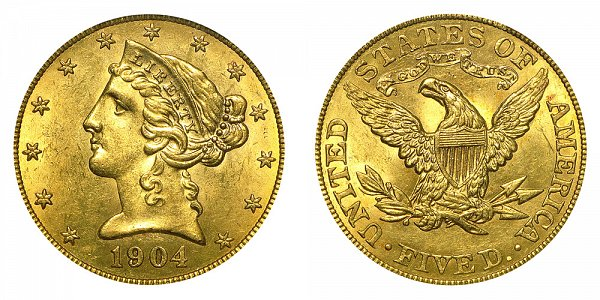 1904 Liberty Head $5 Gold Half Eagle - Five Dollars