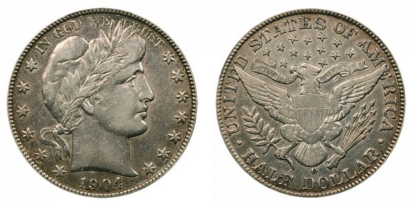 1904 O Barber Silver Half Dollar