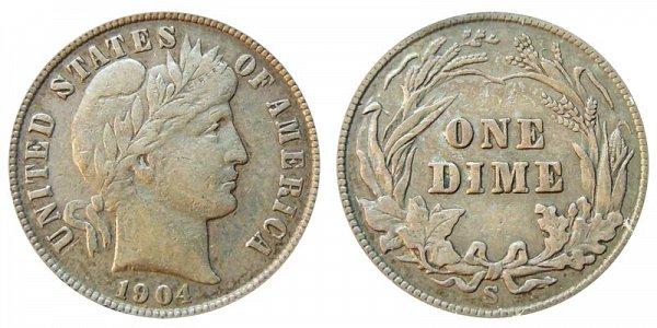 1904 S Silver Barber Dime