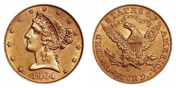 1904 S Liberty Head $5 Gold Half Eagle - Five Dollars