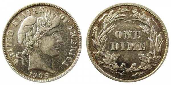 1905 Silver Barber Dime