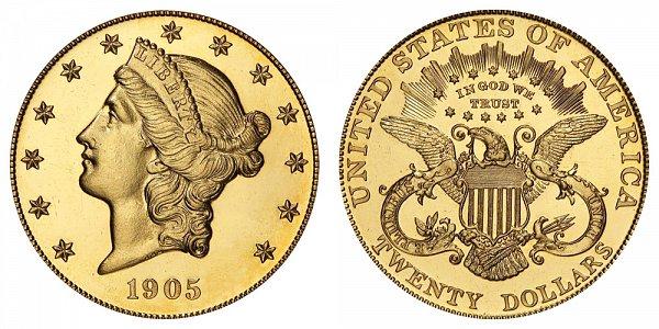 1905 Liberty Head $20 Gold Double Eagle - Twenty Dollars