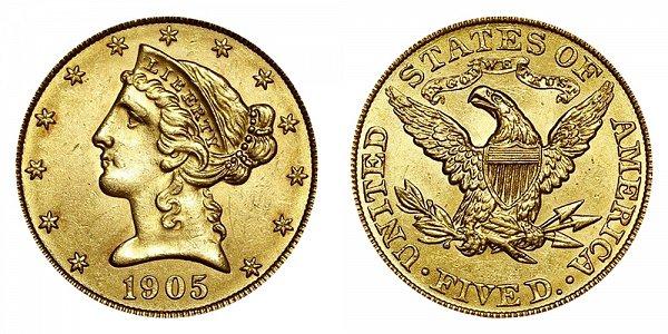 1905 Liberty Head $5 Gold Half Eagle - Five Dollars