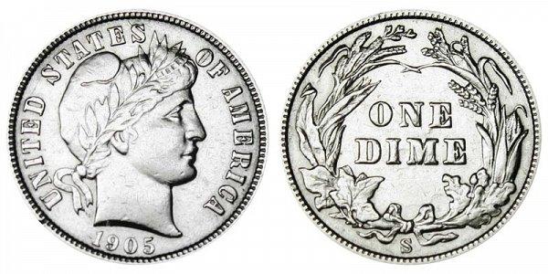 1905 S Silver Barber Dime