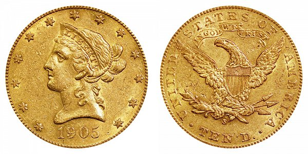 1905 S Liberty Head $10 Gold Eagle - Ten Dollars