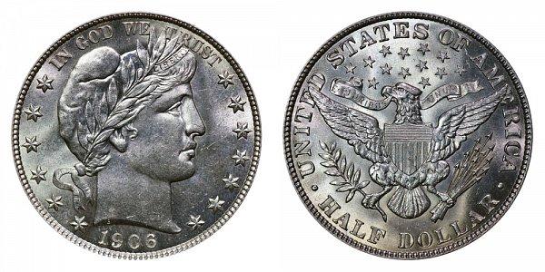1906 Barber Silver Half Dollar
