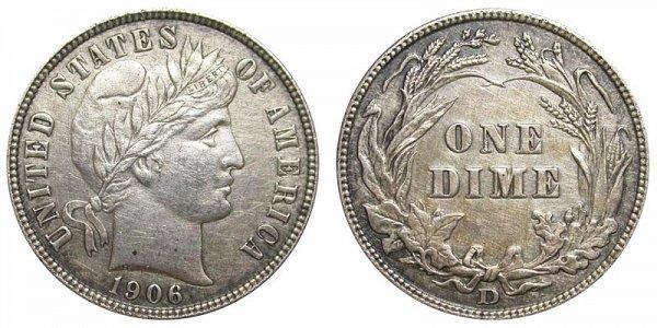 1906 D Silver Barber Dime