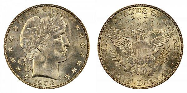 1906 D Barber Silver Half Dollar