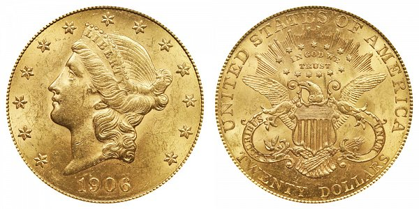 1906 Liberty Head $20 Gold Double Eagle - Twenty Dollars