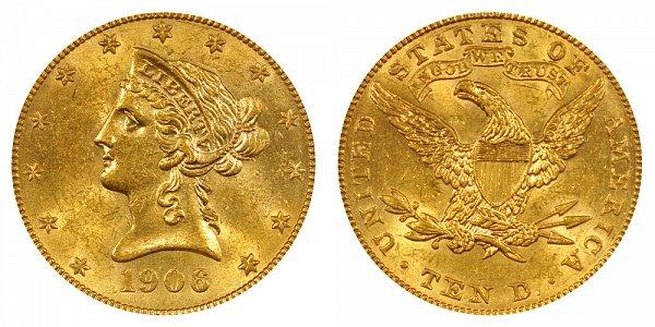 1906 Liberty Head $10 Gold Eagle - Ten Dollars