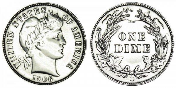 1906 O Silver Barber Dime