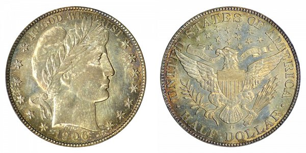 1906 O Barber Silver Half Dollar