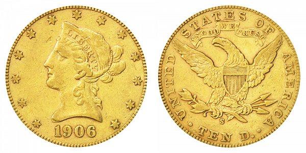 1906 S Liberty Head $10 Gold Eagle - Ten Dollars