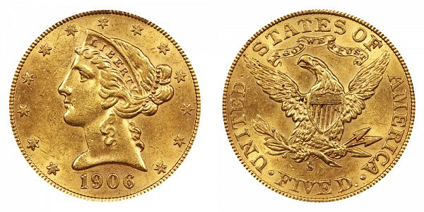 1906 S Liberty Head $5 Gold Half Eagle - Five Dollars