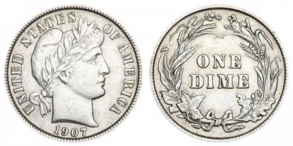 1907 Silver Barber Dime